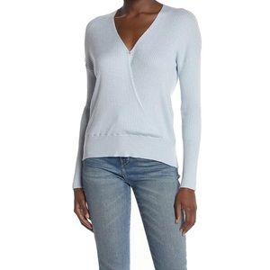 Elodie Blue Faux Wrap Long Sleeve Sweater Sz S